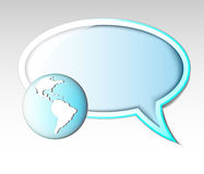 Illustration of text balloon with earth Stock Photo