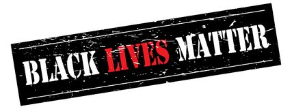 Black Lives Matter banner. Illustration of the text BLACK LIVES MATTER in white and red on a grunge black background, isolated on a white background stock illustration