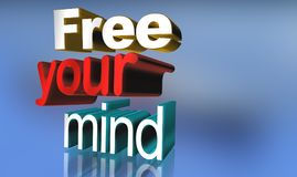Free your mind. An illustration of the text 'Free your mind' on blue background vector illustration