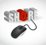 Illustration of text share and computer. Mouse over white background Royalty Free Stock Photo