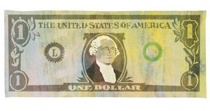 Illustration texturisée de billet de banque du dollar sur le fond blanc illustration stock