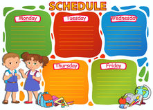 Illustration thématique de vecteur d'image d'horaire d'école Photos stock