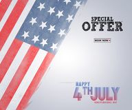 Illustration of 4th of July Background with American flag. Illustration of 4th of July Background stock illustration