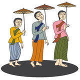 Illustration of Thai women in mural painting vector Royalty Free Stock Images