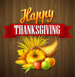 Illustration of a Thanksgiving cornucopia full of harvest fruits and vegetables. Fall greeting design. Autumn harvest Royalty Free Stock Image