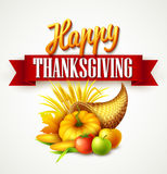 Illustration of a Thanksgiving cornucopia full of harvest fruits and vegetables. Fall greeting design. Autumn harvest Royalty Free Stock Images