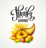 Illustration of a Thanksgiving cornucopia full of harvest fruits and vegetables. Fall greeting design. Autumn harvest Stock Photography