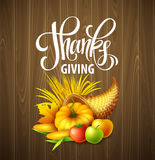 Illustration of a Thanksgiving cornucopia full of harvest fruits and vegetables. Fall greeting design. Autumn harvest Stock Images
