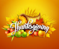 Illustration of a Thanksgiving cornucopia full of. Harvest fruits and vegetables. Vector EPS 10 Stock Photography