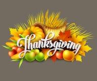 Illustration of a Thanksgiving cornucopia full of Stock Image