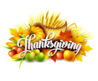 Illustration of a Thanksgiving cornucopia full of Royalty Free Stock Images