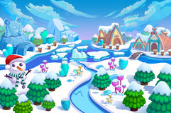 Illustration: The Entrance Of The Snow World! Snow Man, Green Trees And Small Flowers, Ice Mountain, River, Snow Houses And Ice Ig Royalty Free Stock Images