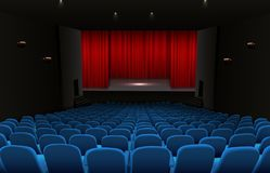 Theater stage with red curtains and blue seats vector illustration