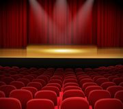 Theater stage with red curtains and seats. Illustration of Theater stage with red curtains and seats Royalty Free Stock Photo