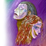 Illustration of theatrical masks portraits royalty free illustration