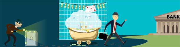 Illustration of theft of money from the safe. Money laundering for further contribution to the bank. stock illustration