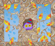 Illustration on the theme of autumn, the owl in the hollow oak Royalty Free Stock Photos