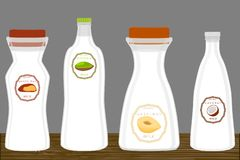 Illustration on theme big set different types chilled milk. Dairy bottles various size. Milk beverage consisting of collection accessory dairy bottles to royalty free illustration
