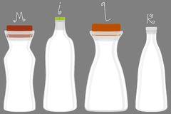 Illustration on theme big set different types chilled milk. Dairy bottles various size. Milk beverage consisting of collection accessory dairy bottles to stock illustration