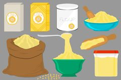 Illustration on theme big set different types dishware filled corn flour. Corn flour pattern consisting of collection dishware for organic cooking. Tasty corn royalty free illustration