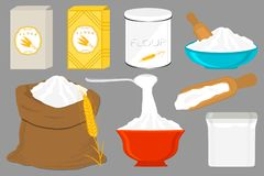 Illustration on theme big set different types dishware filled wheat flour. Wheat flour pattern consisting of collection dishware for organic cooking. Tasty royalty free illustration
