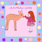 Illustration on the theme of children`s drawings girl feeds a deer royalty free illustration