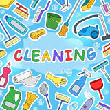 Illustration on the theme of cleaning and household equipment and cleaning products,color icons on  blue background Royalty Free Stock Images