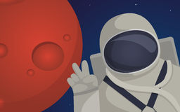 Illustration on theme of colonization of planet Mars Royalty Free Stock Photo