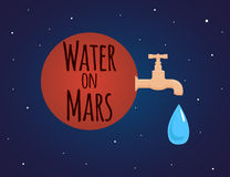 Illustration on the theme of discovery of water on Mars. With a tap and a drop of water Stock Image