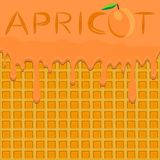 Illustration on theme falling runny apricot drip at sugary waffle cookie. Apricot pattern of drip meal for organic healthy waffle cookies. Drip apricot in royalty free illustration