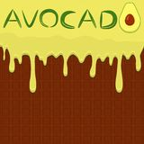 Illustration on theme falling runny avocado drip at sugary waffle cookie. Avocado pattern consisting of drip meal for organic healthy waffle cookies. Drip royalty free illustration