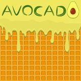 Illustration on theme falling runny avocado drip at sugary waffle cookie. Avocado pattern consisting of drip meal for organic healthy waffle cookies. Drip stock illustration