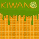 Illustration on theme falling runny kiwano drip at sugary waffle cookie. Kiwano pattern consisting of drip nice meal for organic waffle cookies. Drip kiwano in stock illustration