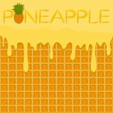 Illustration on theme falling runny pineapple drip at sugary waffle cookie. Pineapple pattern of drip meal for organic healthy waffle cookies. Drip pineapple stock illustration