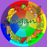 Illustration on the theme of healthy eating and vegetarianism. Round frame of the food, the concept of vegetarianism and healthy eating Royalty Free Stock Images