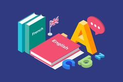 Illustration on theme of learning and teaching of foreign languages. Image textbooks in French and English, England flag and letters of Latin alphabet. 3d vector illustration