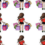 Illustration on the theme of leisure. Relax on vacation. Entertainment good girls. Seamless pattern. Stock Photography