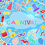 Illustration on the theme of masquerade and carnival , simple painted icons  on blue background Stock Image