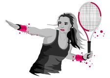 Illustration on the theme of tennis girl with racket, in graphic style royalty free illustration