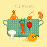 Vegetarian soup with different vegetables vector. Funny, food, cartoon vegetable, cauliflower, tomato, carrot, pepper, onions, pot Royalty Free Stock Images