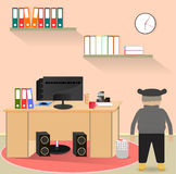 Illustration on the theme of workplace computer. Cap Royalty Free Stock Image