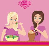 Thick and thin girls in restaurant. Illustration of thick and thin girls in restaurant Stock Images