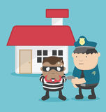 Illustration of a thief after steal a home. Police arrested Stock Images