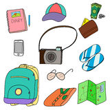 Illustration of things people need for vacation Stock Photo