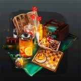 Illustration of things to rest on the table royalty free illustration