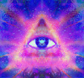 Illustration of a third eye mystical sign. Raster illustration of a third eye mystical sign royalty free illustration