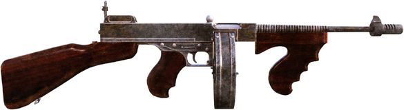 Thompson Machine Gun, Weapon, Isolated. Illustration of a Thompson machine gun. A military weapon used in World War 2 WWII and made famous by gangsters and the Royalty Free Stock Photos