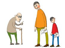Illustration of three ages of men Royalty Free Stock Photos