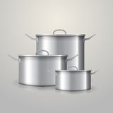 Illustration of three aluminum saucepans Royalty Free Stock Photo