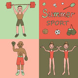 Illustration of three athletes engaged in different kinds of sports - boxer, weightlifter, synchronized swimming. Colorful illustration of three athletes engaged Royalty Free Stock Photo